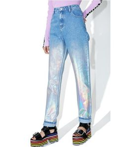 Glamorous Starcrush Holographic Jeans ...take ya to the moon, take ya to the staaaars! These amazin' jeans will take yr gleam to a whooole new level, and feature a light wash denim construction, high waist, slim-straight cut throughout, holographic coating from the thigh down, and classic zipper fly 'N button closure.