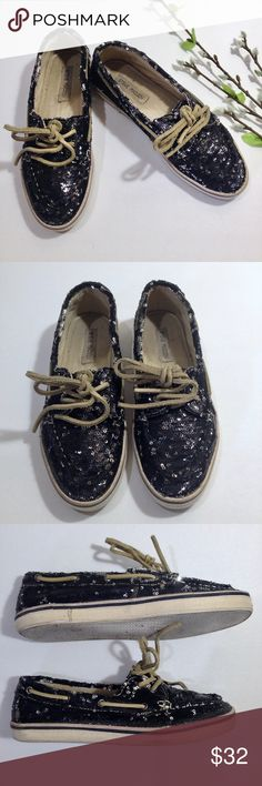 STEVE MADDEN Black Sequin Yachtt Boat Shoes Size 8