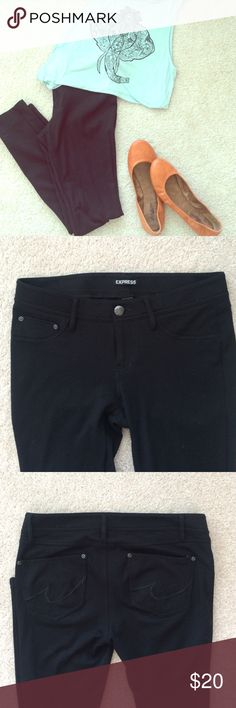 Express black leggings Express black Leggings • lightly worn like new• size: Small• back pockets• rayon/nylon/spandex material Express Pants Leggings