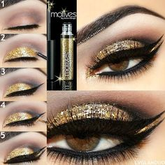 Motives® Glitter Eyeliner A versatile, shimmering formula that adds glitter to the lash line and lashes. The buildable, water-based liner contains superfine glitter in a clear base.