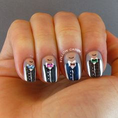 Vest and bow tie nails! How cute! <3