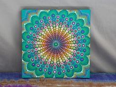 "Dot Mandala on Wood, Spring Mandala 10"" x 10"" Painting, Art by Kaila Lance, Dot Art, Dotillism, Mandala, Sacred Geometry, Dot Painting by KailasCanvas on Etsy"