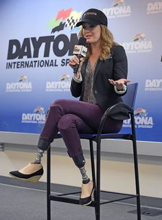 Actress, model, world-class snowboarder and 2014 Paralympic bronze medalist Amy Purdy answers questions at a news conference before the Daytona 500 NASCAR Sprint Cup series auto race at Daytona International Speedway, Sunday, February 22, 2015, in Daytona Beach, Fla. Purdy will be driving the pace car for the race. (Photo by Phelan M. Ebenhack/AP Photo)
