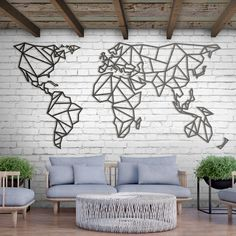 (Yeni) Metal Deco - World Map XXXL