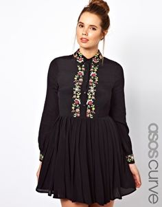 ASOS CURVE Shirt Dress with Floral Embroidery