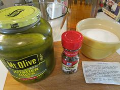 "Today I'm sharing an ""almost homemade"" sweet pickle recipe made from kosher dill. - Today I'm sharing an ""almost homemade"" sweet pickle recipe made from kosher dill pickles. Candied Dill Pickle Recipe, Crispy Pickles Recipe, Baked Pickles, Spicy Pickles, Homemade Pickles, Sweet Dill Pickles, Making Dill Pickles, Kosher Dill Pickles, How To Make Pickles"