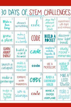 30 days of STEM Activities STEM Challenge is part of Teaching Science Stem Challenges 30 days of STEM Activities, STEM Challenges for Kids, Printable STEM activities for kids, STEM activities presc - Space Activities For Kids, Steam Activities, Preschool Activities, Stem Preschool, Camping Activities, Summer Activities, 30 Tag, Stem Classes, Visual Thinking