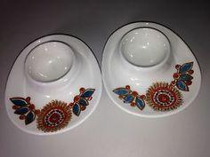 2 Vintage Mid Century Modern Figgjo Flint Norway Egg Cups Plates Astrid Stacking | eBay