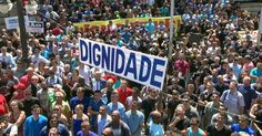 """Este pacote de medidas, é um """"tiro na cara"""" na sociedade brasileira.  Servidores da segurança do RJ fazem protesto contra pacote do governo"""