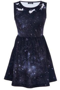 peter pan neverland galaxy print dress <--- SO COOL