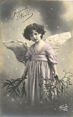 Victorian Christmas Angel Photo Postcard