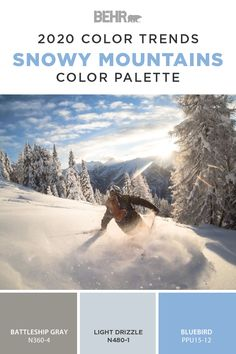 Start your next DIY home makeover off on a stylish note with this snowy mountains paint color palette from the new BEHR® 2020 Color Trends Palette. The blue hue of Light Drizzle and Bluebird come together with Battleship Gray to create this classic color combination. Click below to learn more.