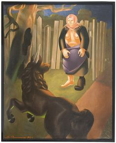 VLADIMIR OVCHINNIKOV (RUSSIAN 1911-1984)<br><I>Lady and Unicorn</I>, 1984<br>oil on canvas<br>130.8 x 104.1 cm (51 1/2 x 41 in.)<br>signed and dated lower left; signed, titled and dated on verso<br><br><b>PROVENANCE</b><br> Christie`s, New York, April 24, 2009, lot 366.<br>