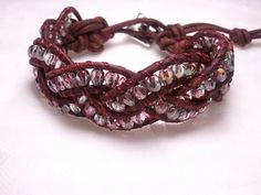 Braided Leather Wrap Cuff with Pink and Clear Fire Polished Czech Beads