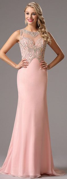 Beaded Bodice Pink Evening Dress