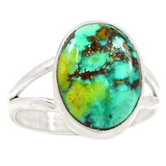 Lucky-Natural-Tibetan-Turquoise-925-Silver-Ring-Jewelry-s-11-SR176824
