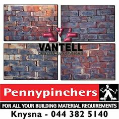 The quality of Vantell bricks has been measure and proven to be above the SABS standards for the trade, Vantell pride ourselves on our integrity, performance and credentials. Available from Pennypinchers Knysna. #bricks #vantell #diy