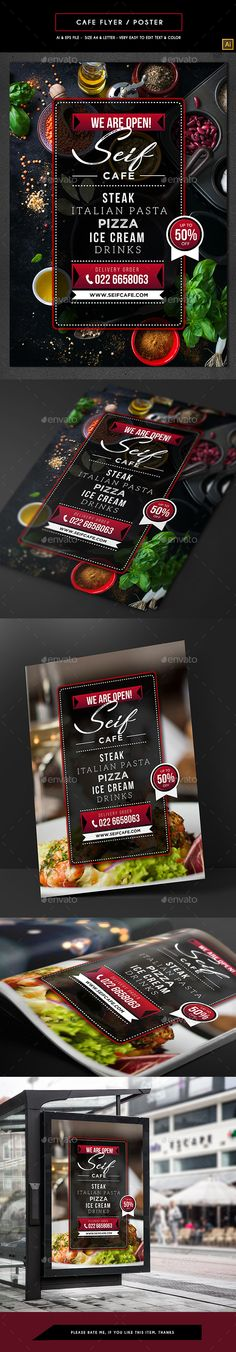 #Cafe #Flyer / Poster - #Restaurant Flyers