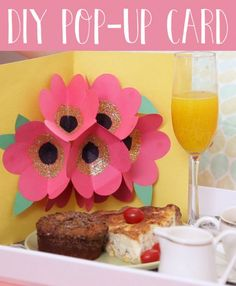 How to make pop up greeting cards for birthdays, Valentine's day, Mother's or Father's day. Pop-up card ideas, tutorials, templates. DIY pop up cards for kids adults. Make 3-D flowers, hearts,Homemade