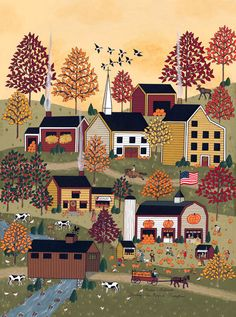 "Folk Art Autumn Fall print by Medana Gabbard titled ""Finding The Perfect Pumpkin"""
