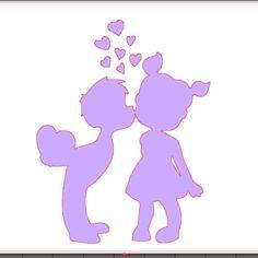 fichier sst ** couple enfant bisous coeur  ** pour silhouette studio cameo vectorisation vecto