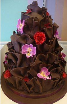 Chocotaart bloemen