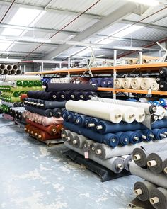 Endless rows of textiles at our textile mill Wooltex in northern England. Bear Makeup, Indian Men Fashion, Northern England, Textiles, Photoshoot Inspiration, Fashion Company, Textile Design, Yorkshire, Color