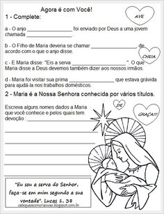 Catequese com Crianças: Atividades para Catequese - Maria: Nossa Senhora