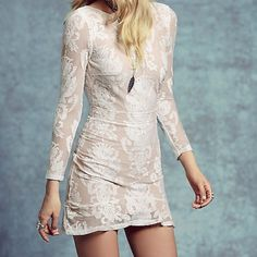 For Love & Lemons night to remember mini dress NWT. Size L.   Color: white/nude.    NO TRADES.    For Love and Lemons Dresses Mini