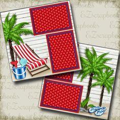 Beach Scrapbook Layouts, Vacation Scrapbook, Scrapbook Titles, 12x12 Scrapbook, Scrapbook Templates, Scrapbook Journal, Scrapbooking Layouts, Friend Scrapbook, Owl Templates