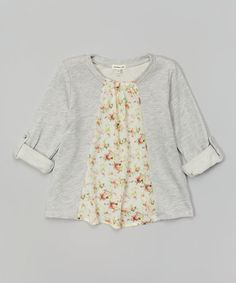 Love this Heather Gray & Pink Floral Swing Pullover on #zulily! #zulilyfinds