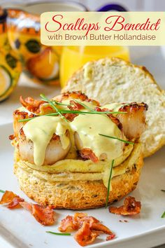 Scallops Benedict with Brown Butter Hollandaise on Chive Buttermilk Biscuits. An indulgent dish fit for for any celebration from birthdays, to Easter to a fancy wedding day brunch. Egg Recipes, Brunch Recipes, Seafood Recipes, Easy Dinner Recipes, Gourmet Recipes, Cooking Recipes, Rock Recipes, Fancy Recipes, Burger Recipes