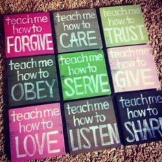 "Christian Art - SET of 9 - ""Teach Me"" Wood Blocks - Pink, Green, Nursery Art, Girl's Room, Wall Art, Home Decor, Gift."