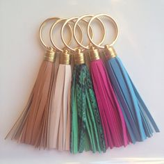 Leather Tassel Keychains with Gold Plated Rings  by pjandpoppy, $16.00.ivory snakeskin.