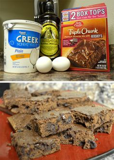 Low-fat alternative to brownies!! Replace oil amount on back of box with nonfat greek yogurt, add water amount listed, 2 egg whites, and a tsp of vanilla. Bake according to mix directions! Try using a plain brownie mix and add dark chocolate pieces, dried berries, almonds, peanut butter, etc. So yummy!