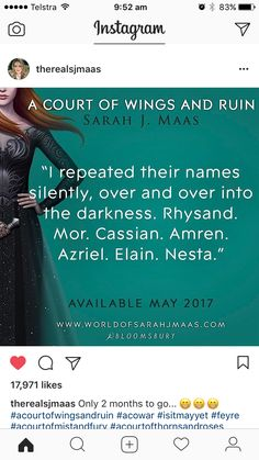 Ahhhh! A Court of Wings and Ruin quote...