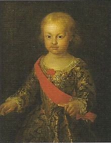 Philip of Naples and Sicily, Duke of Calabria was the eldest son and heir of Charles III of Spain, but was excluded from the succession to the thrones of Spain and Naples due to his imbecility. When his father became King of Spain in 1759, Philip remained in Naples where he lived until his death, age thirty, of smallpox. It can be claimed by looking at the portrait to the right, that Infante Philip may have been the first documented case of what would later be termed as Down Syndrome.