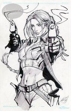 Een super mooie zwart/wit illustratie, van Lara Croft. Van een van mijn favoriete comic artiest Stjepan Sejic.