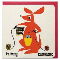 Un kangourou qui tricote aidé par une petite souris cachée dans sa poche sur une jolie petite carte stylisée de 12 x 12 cm.  Enveloppe rouge fournie avec la carte sous blister. 3,95 € http://www.lafolleadresse.com/cartes/1280-carte-kangourou.html
