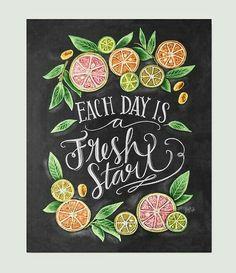 """Each Day is a Fresh Start"" . Kitchen Chalkboard Art - Chalk Art - Kitchen Art - Chalkboard Art - Fresh Start- Motivational Print - Kitchen Print - Hand Lettered Art EUR plus shipping Summer Chalkboard Art, Blackboard Art, Kitchen Chalkboard, Chalkboard Print, Chalkboard Lettering, Chalkboard Designs, Chalkboard Drawings, Chalkboard Ideas, Chalk Marker"