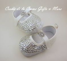 Baby Girl Bling Mary Janes by CremeDeLaCremeGifts on Etsy, $50.00