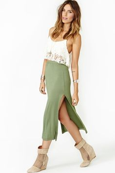 Double Edge Midi Skirt