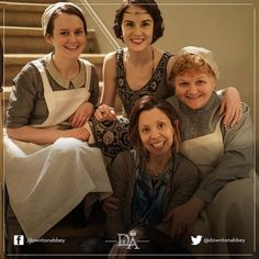 @downtonabbey_official: #Downton's lovely ladies, from both sides of the camera Series Season 5.5 Behind the scenes Michelle Dockery Sophie McShera Lesley Nicol