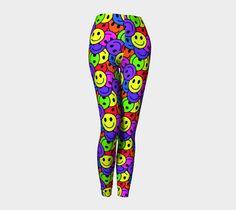 Smiley Faces Retro Hippie Pattern Leggings from hippygiftshop