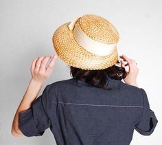 4e33f8de27d Vintage 1950s Straw Hat - 50s Summer Hat - Amber Straw
