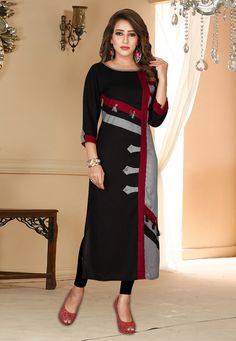 Shop Black Rayon Readymade Kurti 165704 online at best price from vast collection of designer kurti at Indianclothstore.com.