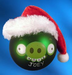 Personalized Angry Bird Pig Christmas Ornament with Christmas Hat