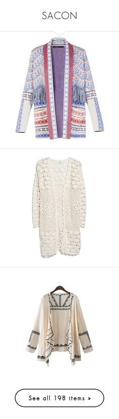 """SACON"" by laumariborche ❤ liked on Polyvore featuring tops, cardigans, jackets, outerwear, bcbg, blazers, print top, long sleeve tops, cardigan top and fringe cardigan"