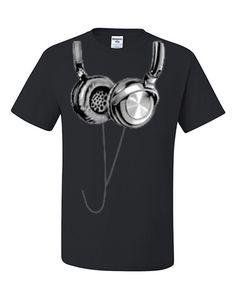 Hanging Headphones T-Shirt Club Party Music Festival Funny DJ Tee Shirt $ 12.99