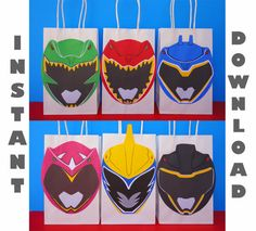 Printable Power Rangers Dino Charge Party Favor Bags/ Dino Charge Birthday Party Ideas/ Favors/ Goodie/ Goody/ Treat/ Loot/ Candy/ Bags/ bag/ box/ boxes/ invite/ invitation/ cake/ topper/ cupcake toppers/ cookies/ drink bottle label/ labels/ sticker/ stickers/ decorations/ fiesta/ festa/ cumpleaños/ piñata/ pinata/ balloons/ download bags/ backdrop/ centerpieces/ ideas/ free/ banner/ poster/ sign/ shirt/ onesie/ helmet/ hats/ masks/ dino charge/ red/ gold/ green/ pink/ blue/ black/ ranger…